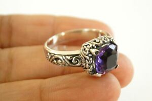 Purple Amethyst Solitaire Ornate 925 Sterling Silver Ring Size 6, 7, 8, 8 3/4