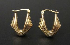 9CT UNOAERRE YELLOW GOLD FANCY HOOP EARRINGS ITALIAN DESIGNER 375 9K 1.9GMS