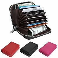 Anti-theft RFID Blocking Leather ID Credit Card Cash Wallet Zipper Purse Pocket