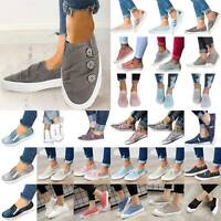 Women Flats Casual Canvas Sneakers Slip On Trainers Plimsoll Pumps Shoes Loafers