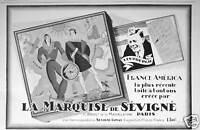 PUBLICITÉ MARQUISE DE SEVIGNÉ FRANCE AMERICA LINDBERGH BOITE A BONBONS