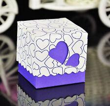 10 boites contenant dragées mariage bapteme coeur violet  blanc neuf