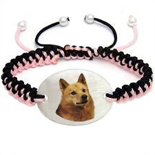 Finnish Spitz Dog Natural Shell Mother Of Pearl Adjustable Knot Bracelet Bs66