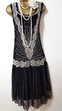FROCK&FRILL 20'S STYLE GATSBY FLAPER CHARLESTON BEAD SEQUIN EMBELLISED DRESS 10