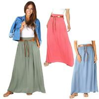 Womens Ladies Maxi Skirt Pleated Boho Hippie Long Tie Belted Light Cotton Summer