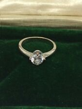 CZ Cubic Zirconia Solitaire Ring 1 Carat 4 prong Silver Vintage UK England SZ 6