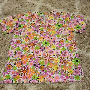 Womans Natural Unifirms Floral Scrub Top Size XS