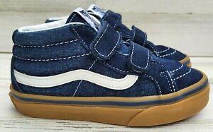 "VANS ""Off The Wall"" High Top Denim Blue /White Canvas Tan Sole Skate Shoe sz 13K"