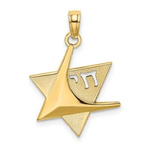 14k Yellow Gold Jewish Jewelry Star Of David Chai Pendant Charm Necklace
