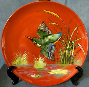 SUPERB Lg. MINTON AESTHETIC MOVEMENT HAND PAINTED CHARGER by W.S. COLEMAN - 1882