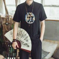 Men Tops Cotton Blend Chinese Enbroidery Loose Short Sleeve Youth Casual T-shirt