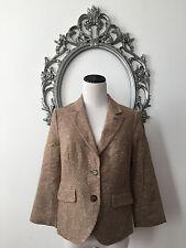 Anthropologie Etttwa Jacket Blazer Leather Covered Sleeve Wool Size 6 New