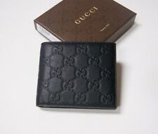 New Authentic Men's Gucci Avel Black Guccissima Leather Bifold Wallet