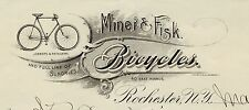 RARE -  1896   Miner & Fisk Bicycle  Co  Billhead Letterhead  Rochester  NY