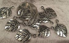 CHARMS-Silvertone- Ribbed LEAF-Leaves-Bead for Fall & Autumn X 24= 22mm x 15mm