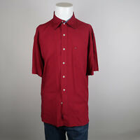 Tommy Hilfiger Button Up Shirt Mens Size Large Red Check Short Sleeve Rayon