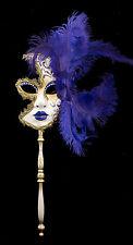 Masque de Venise à Baton Plumes autruche Violet-doré-Carnaval venitien-1433 VG7