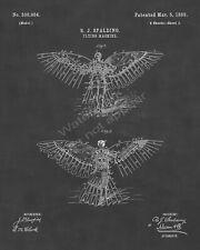 1889 R. J. Spalding Flying Machine Bird Man Patent Print - Sheet 2 - Chalkboard