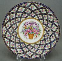 Thieme Dresden Pink Rose Floral Basket Purple Bow Cobalt & Raised Gold Plate H