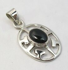 925 Solid Sterling Silver Black Onyx Gemstone Oval Pendant