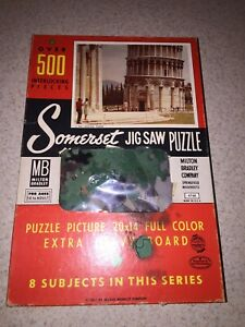 1957 MILTON BRADLEY SOMERSET PUZZLE Over 500 pc. Leaning Tower #4748 Used Vintge
