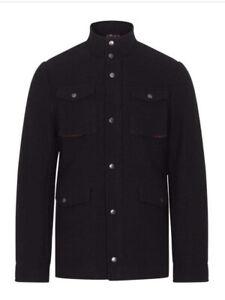 Merc London Beaufort Wool Navy Overshirt Mens Coat Uk XL