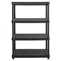 4-Tier Organizer 600-lb. Resin Shelving Unit Ventilated Design - Black