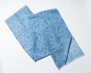 Isaia Napoli NWT Denim Blue Floral Pattern Fringe Cotton Linen Blend Scarf