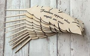 ** PACK OF TEN ** feathers appear when angels are near - wooden feather