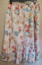 Per Una UK14L EU42L US10L cream linen/viscose floral patterned panel skirt