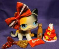 Littlest Pet Shop #106 Calico Cat Walking White Orange Blue Dot Eyes Red Magnet