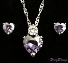 Simulated Diamond & Tanzanite Heart Silver Plated Crystal Jewellery Set. 33%OFF!