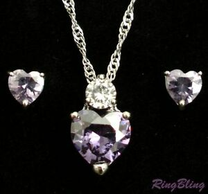 Simulated Diamond & Tanzanite Heart Silver Plated Crystal Jewellery Set. 33%OFF!