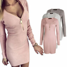 Patternless Dresses for Women with Zipper