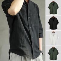 INCERUN Men's Casual Loose Short Sleeve Blouse Cotton Shirt Button Up Tops Tee