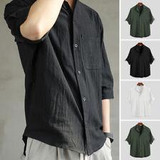 INCERUN Men's Casual Loose Short Sleeve Blouse Cotton Shirt Button Up Tops Tee