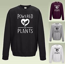 270777dc POWERED BY PLANTS SWEATSHIRT JH030 - VEGAN VEGETARIAN JUMPER SWEATER FUNNY  COOL