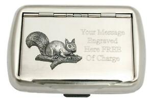 Squirrel On Branch Tobacco Tin Stainless Steel Personalised Smokers Gift 344