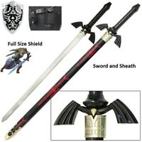 Legend of Zelda BOTW Dark elf Link Master sword and shield set elven Real Steel