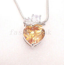 Women White Gold Plated Champagne Heart CZ Cubic Xmas Birthday Chain Necklace