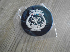 ROYAL MARINES PRINCES BADGE SILVER ON NAVY BLUE GENUINE ISSUE