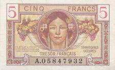 Billet 5 Francs Trésor Français 1947 FAY VF29.1 N° A.05847932 p/NEUF