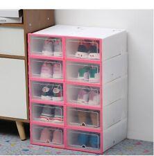6pc Transparent Pink Plastic Shoe Box Home Storage Organiser Stackable Drawer