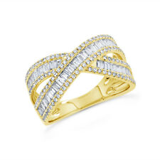 1.15 CT 14K Yellow Gold Natural Channel Set Baguette Diamond Cross Over X Ring