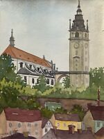 Hildegard Chartée Watercolour Cathedral St.Stephan Diocese Litomeriče Dated