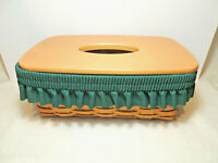 LONGABERGER 2002 Long Tissue Basket with Fabric Garter Protector and Wood Lid
