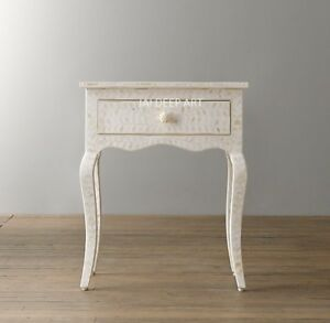 Bone Inlay White Floral Design Curved Bedside Table end table nightstand