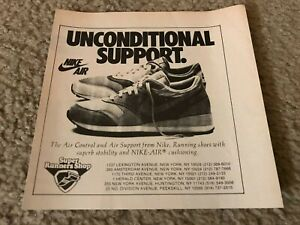 Vintage 1987 NIKE AIR CONTROL SUPPORT Running Shoes Poster Print Ad 1980s RARE