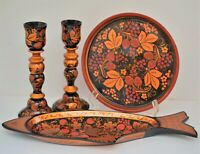 VINTAGE RUSSIAN WOODEN LAQUERED HAND PAINTED DISHES