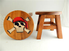 Childs Childrens Wooden Stools Hand Made Stool in Assorted Designs Pirate